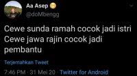 Viral! Twit Rasis Terhadap Wanita Jawa, Pria Ini Dihujat Habis-habisan
